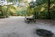 Rear view of sandy site 93 showing picnic table, fire ring and electric hookup nestled under the shady live oak trees and maritime hammock in Anastasia State Park.
