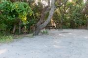 Side view of sandy site 97 showing picnic table and fire ring with live oak trees nestled under shady maritime hammock in Anastasia  State Park.