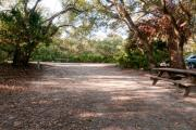 Rear view of sandy site 102 showing picnic table and electric and water hookups nestled under the shady live oak trees and maritime hammock in Anastasia State Park.
