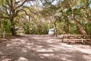 Rear view of sandy site 109 showing picnic table and electric hookup nestled under the shady live oak trees and maritime hammock in Anastasia State Park.