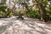 Rear view of sandy site 114 showing picnic table nestled under the shady live oak trees and maritime hammock in Anastasia State Park