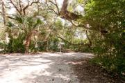 Side view of sandy site 115 showing picnic table and lantern post with live oak trees nestled under shady maritime hammock in Anastasia State Park.