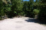 Photo: Buttonwood: Partially shaded gravel campsite with picnic table and grill, bordered by a wood fence and surrounded by bushes.