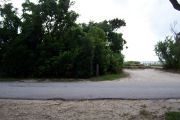 Photo / Sandspur: Paved road with a campsite on the other side, bushes surrounding site