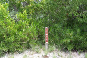 Photo: 074, BAYSIDE: Site number post with white numbers and arrows on a brown background, bushes in background.