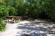 Photo: 076, BAYSIDE: Small, partially shaded, gravel campsite with picnic table surrounded by trees.