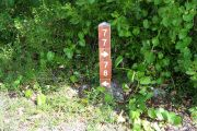 Photo: 077, BAYSIDE: Site number post with white numbers and arrows on a brown background, bushes in background.