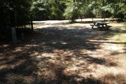 Deep campsite with picnic table.