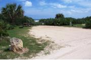 Packed sand campsite with low palmetto plants and sea oats along back. Ocean waves are visible in the background. Picnic table and grill on left side. Beach overlook on the left side. Electric and water on right side.