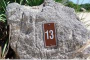Large rock with metal sign with campsite number 13 on it located to the left of the site. Palmetto plants behind it.
