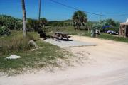 Packed sand campsite with large palmetto plants with palm tree on left. Low vegetation between sites. Handicap-accessible picnic table on concrete pad and accessible ground grill off to the left of the campsite. Electric and water hookups to the right. Palmetto plants provide a buffer to the back.