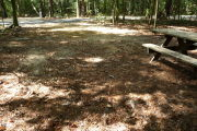 View of site with road and picnic table.
