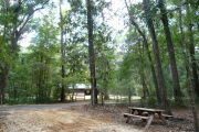 Campsite with picnic table and view of horse stables.
