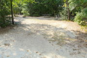 View of a vacant campsite with a picnic table, fire ring, electric pedestal, and water spigot. The site is sandy with some sparse vegetation and has trees all around. There is partial shade.