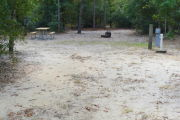 View of a vacant campsite with a picnic table, fire ring, water spigot, and electric pedestal. The main part of the site is sandy with some grass around the edges. A few small trees are present within the site. The site is lined with trees and the back is densely forested.