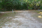 View of a vacant campsite with a picnic table, fire ring, and electric pedestal. The site is sandy with large areas of grass. The back of the site is densely forested and there is complete shade.