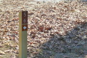 Close up of a brown site marker with an arrow on a wooden post. Grass and leaves are present in the background.