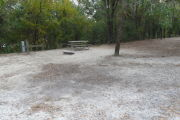 View of a vacant campsite with a picnic table, fire ring, water spigot, and electric pedestal. The main part of the campsite is sand and the back of the site is densely forested. There is a medium size tree in the middle of the site. There is partial shade.