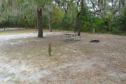 View of a vacant campsite with a picnic table, fire ring, electric pedestal, and water spigot. The main part of the site is sandy with patches of grass. There are two medium size trees in the site and the back of the site is densely forested creating partial shade.