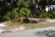 Site marker on grass near palmetto near paved road