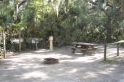 Lush vegetation of Spanish moss draped live oak, sable palm, and palmetto surrounding an open campsite with a picnic table, fire ring, cloths line, water spigot, and electrical hook-up stanchion.