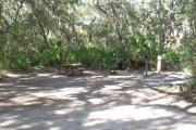 Lush vegetation of Spanish moss draped live oak and palmetto surrounding an open campsite with a picnic table, cloths line, fire ring, water spigot, and electrical hook-up stanchion.