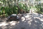Lush vegetation of Spanish moss draped live oak and palmetto surrounding an open campsite with a picnic table, fire ring, cloths line, water spigot, and electrical hook-up stanchion.