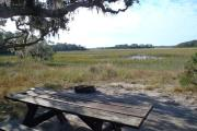 An expansive view of the salt marsh rushes and creeks from an open campsite with a picnic table and fire ring.