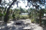 Lush vegetation of Spanish moss draped live oak, cedar, and palmetto framing a view of the salt marsh from an open campsite with a picnic table, fire ring, and cloths line.