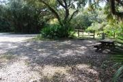 This is a picture of campsite 38 from the back of the site looking toward the road.   The site has water and 50amp electric service.  This is a partly sunny site with a gravel foundation.  The site has a picnic table and a ground campfire ring.