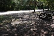 This is a picture of campsite 41 from the back of the site looking toward the road.   The site has water and 50amp electric service.  This is a partly sunny site with a gravel foundation.  The site has a picnic table and a ground campfire ring.