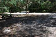 This is a picture of campsite 42 from the back of the site looking toward the road.   The site has water and 50amp electric service.  This is a partly sunny site with a gravel foundation.  The site has a picnic table and a ground campfire ring.