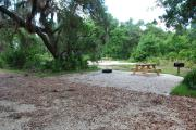 This is picture of campsite #78 from the back of the site looking toward the road.  Site has 50amp electric, water and sewage hook-ups.  This is a partial shady site with stone foundation and vegetation on sides.  There is a separate section to the side with the picnic table, cooking grill and ground campfire ring.