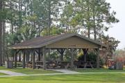 The Dead River pavilion is scenically located near the confluence of the Dead and Ochlockonee rivers. It is connected to the parking area and fishing dock by ADA-accessible walkways.