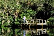 A gentleman fishes on the South Creek dock along the Lester Finley Trail.