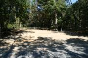 40 foot back in site surrounded by beautiful trees and split rail fencing.