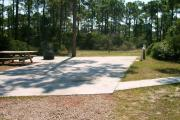 A 20'X 40' concrete pad ADA campsite with native pine trees in the background.  This site has limited shade.