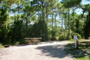 A gravel base campsite with native pine trees in the background.  This site has partial shade.