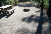 View from the front showing the picnic table and electrical box on the left and fire ring in the foreground.