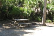 Each site is equipped with a picnic table, lantern post, hose bib, electric hook-up for 20 and 30 amp service, and fire pit on the ground with a fold over grill top.