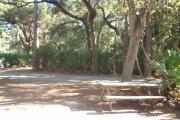Picture taken from rear of site showing picnic table with small oak trees and road.