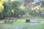 Picnic table and fire pit /grill at rear of site in grass facing the woods.