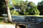The view from the back of the site facing the road over looking fire grill and picnic table , oak tree on left side in front of water and electric hook ups.