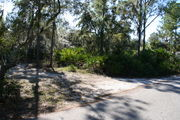 In LOOP 1 #13, a better view of the entrance to the site more palmetto and trees surround the site. Site Marker is on the right side of the main road