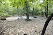 A September view of tent site #23, showing raised tent pad, with fire ring, picnic table, and lantern post for your lantern.   Water and electrical hookups are a short distance away.  Site is surrounded on three sides by a mixed oak, pine, and cabbage palm forest.