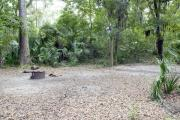 A September view of tent site #26, showing raised tent pad, fire ring, and lantern post.  Picnic table, water and electrical hookups are a short distance away.  Site is surrounded on three sides by a mixed oak, pine, and cabbage palm forest.