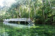 Main swim dock into the spring run at Blue Spring State Park.