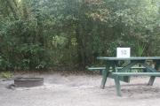 Campsite #10 at Blue Spring State Park showing picnic table and fire ring.