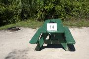 Campsite #14 at Blue Spring State Park showing picnic table and fire ring.