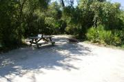 Campsite #15 at Blue Spring State Park showing picnic table and fire ring.